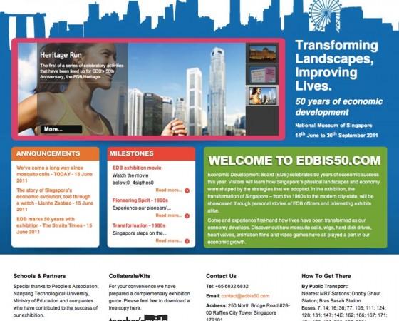 Singapore EDB 50th anniversary website