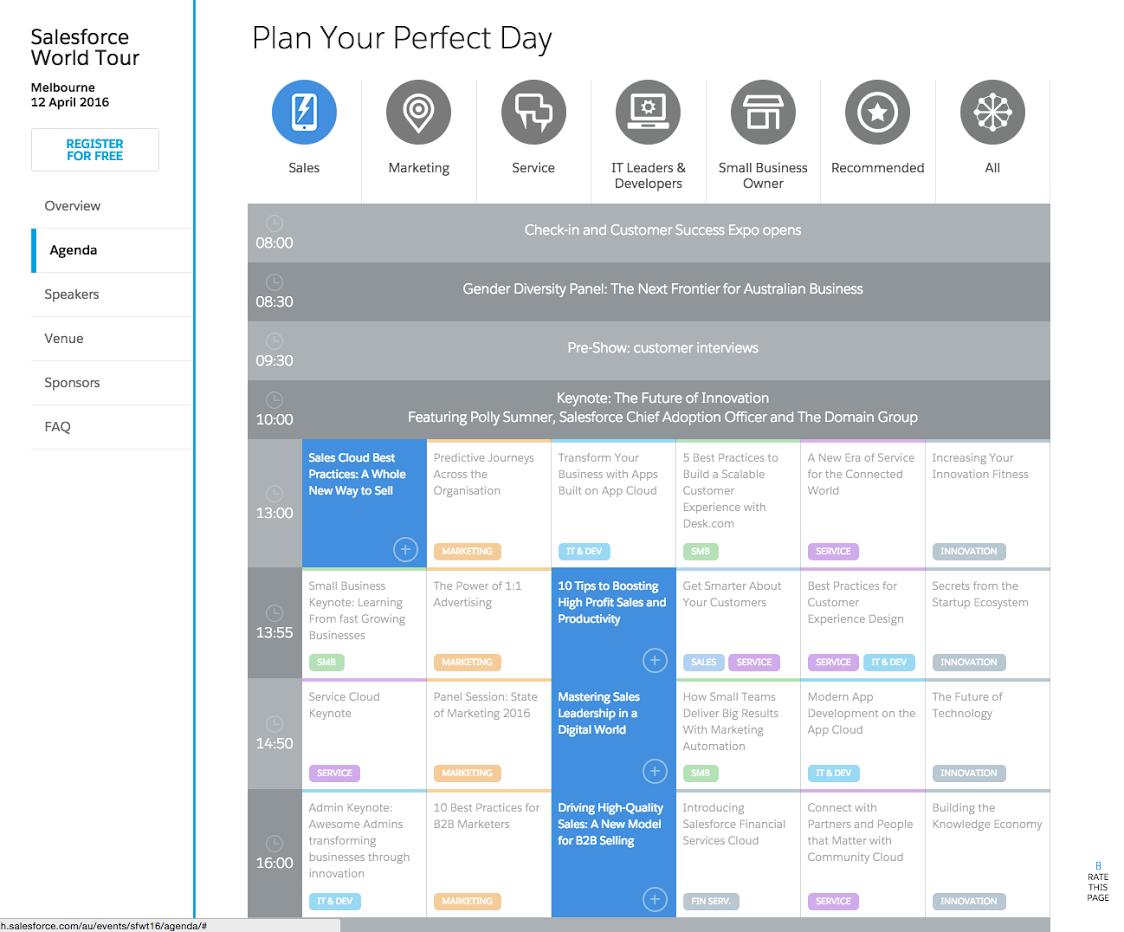 Agenda - persona filter/selector